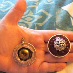 Pendant and ring made from upcycled Nepresso pods